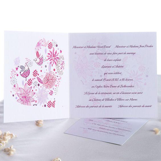 Texte Faire Part Mariage Cœur Rose Thème Oiseaux Wedding
