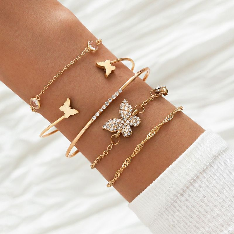 5 piece set Fashion rhinestone butterfly bracelet wholeasle NHPV257759