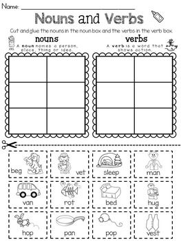 Noun And Verb Sort Distance Learning Nouns And Verbs Verb