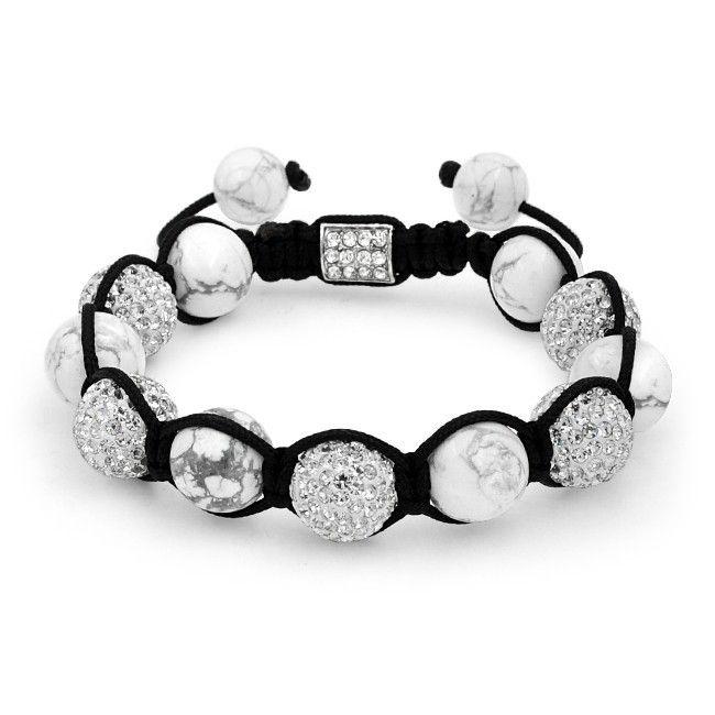 Cool Black & White Howlite Shamballa-Inspired Bracelet