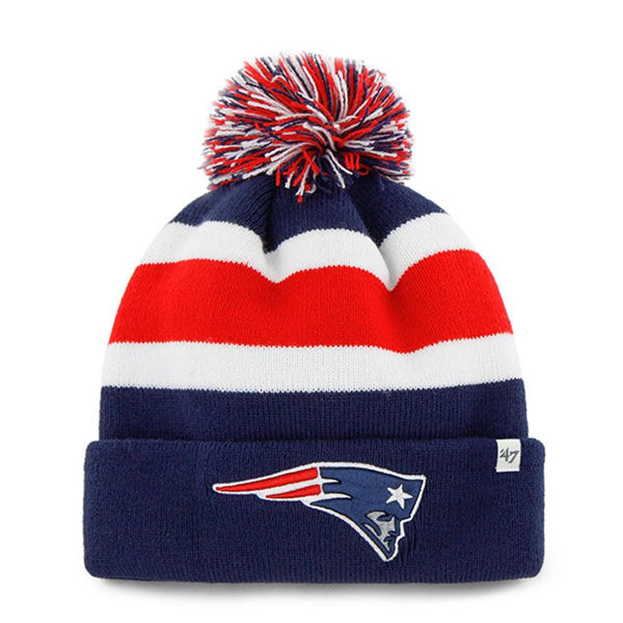 47 Brand New England Patriots Breakaway Pom Winter Knit Hat  (Navy Red White) 3c29e2509