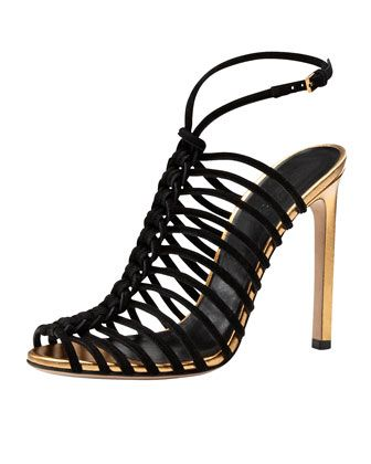Angelique Corded Suede Sandal, Black by Gucci | Resort 2014