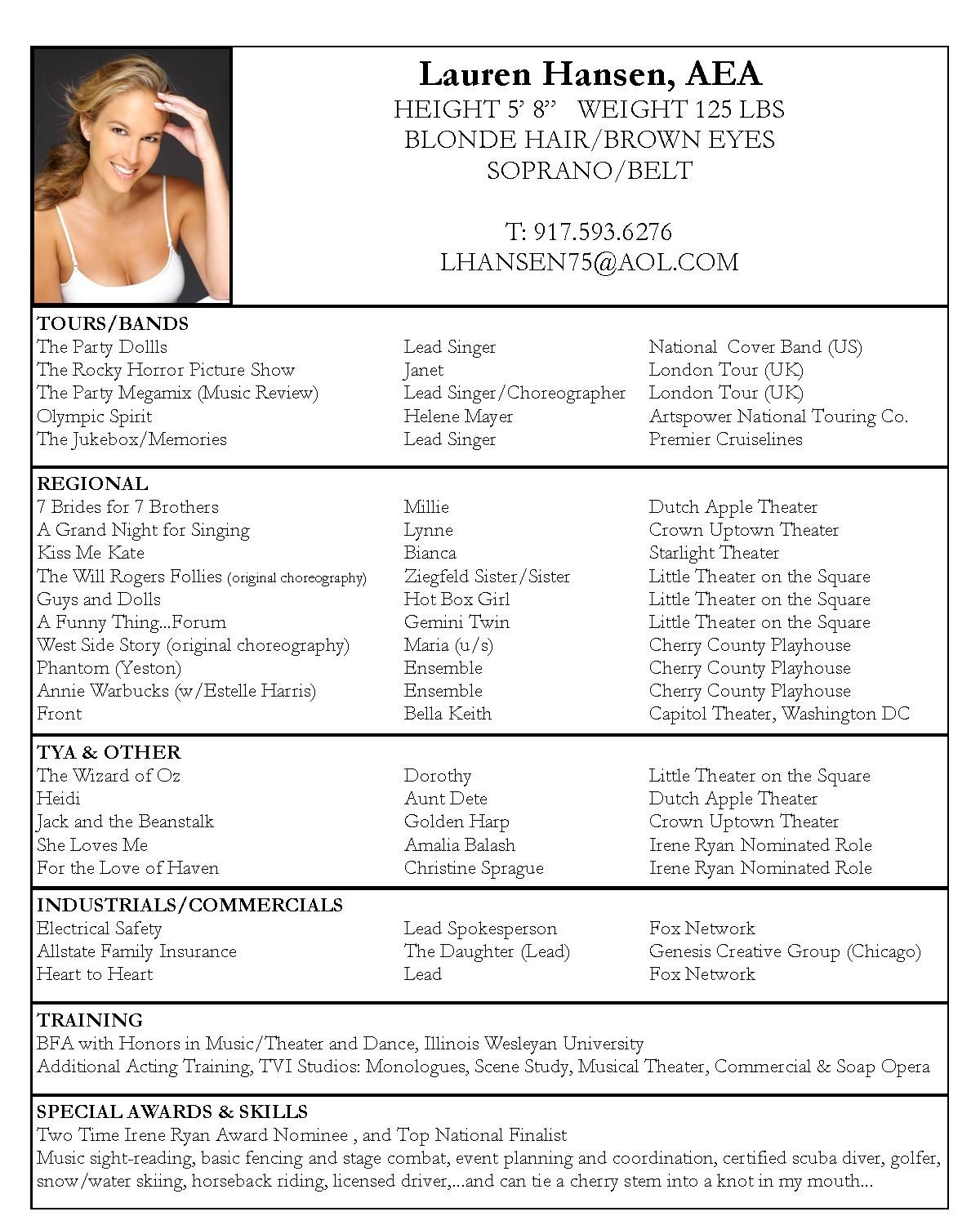 sample actors resume