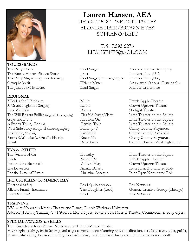 Acting Resume Sample Free  Free Resume Templates  Acting resume