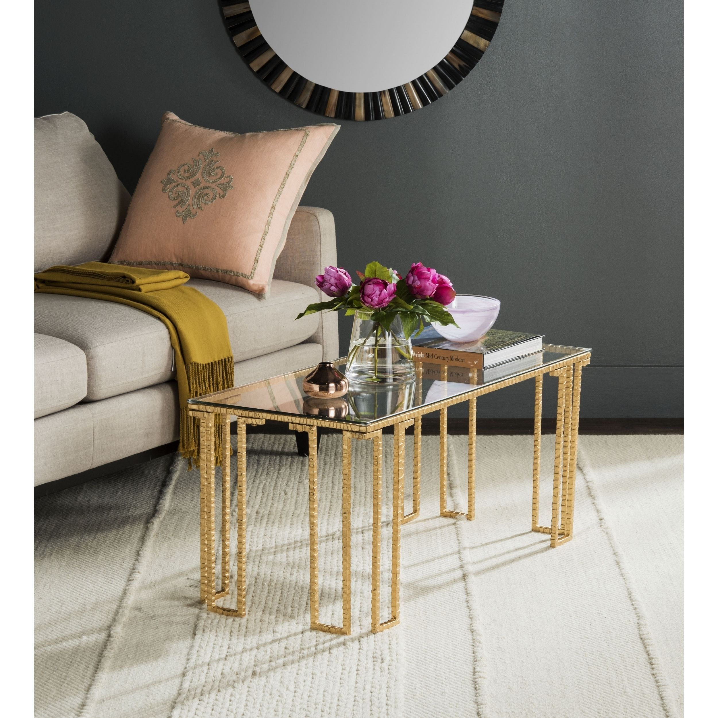 Modern glass end table  Giacomettius sculptural style inspired this contemporary glass
