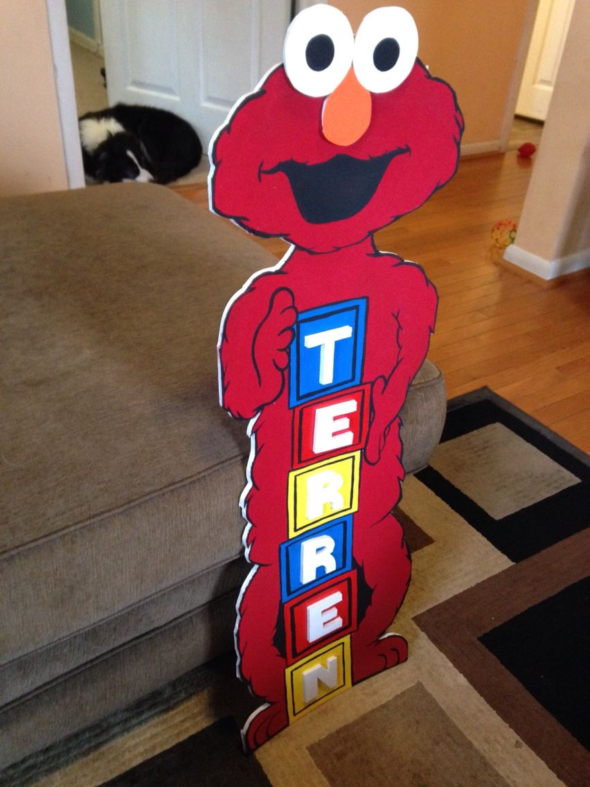 My Elmo Character Cutout I Made Out Of Foam Board And Paint The Eyes Letters Have A Cool Effect Too Elmoparty Sesamestreet Party Handmade
