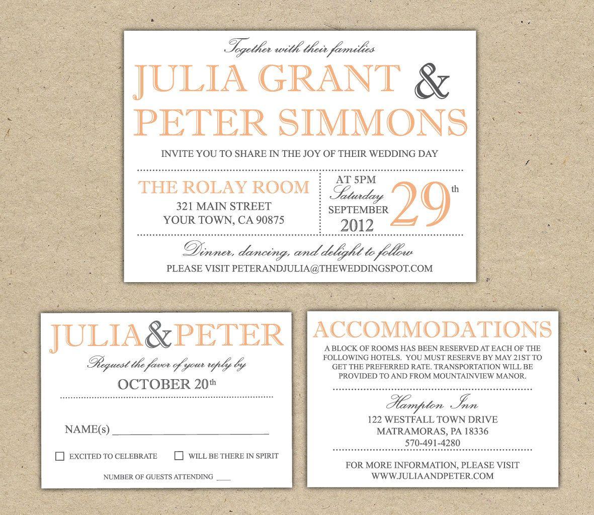 Wedding Invitation Invitations Pinterest Diy Wedding - Wedding invitation templates: hotel accommodations template for wedding invitations