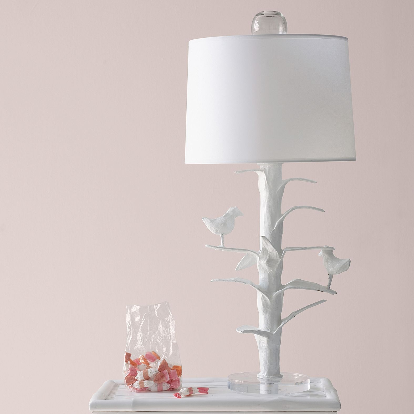 Designer Sarah Bird Lamp In White Papier Mache - Serena
