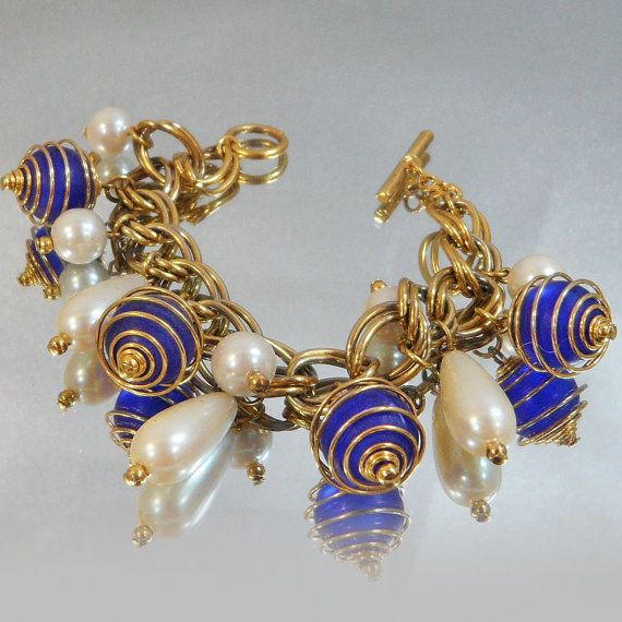 Vintage Charm Bracelet  Chunky Wire Wrapped Frosted Blue by waalaa, $31.99
