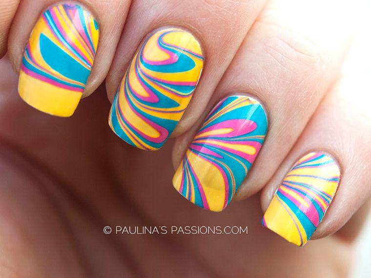 Orange, Pink, Turquoise Water Marble | Nail Art | Pinterest | Pink ...