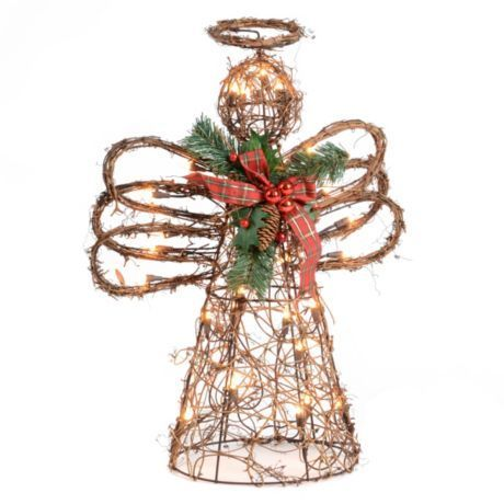 Items similar to Primitive Christmas Angel Door Decor or ... |Grapevine Angel Tree Topper
