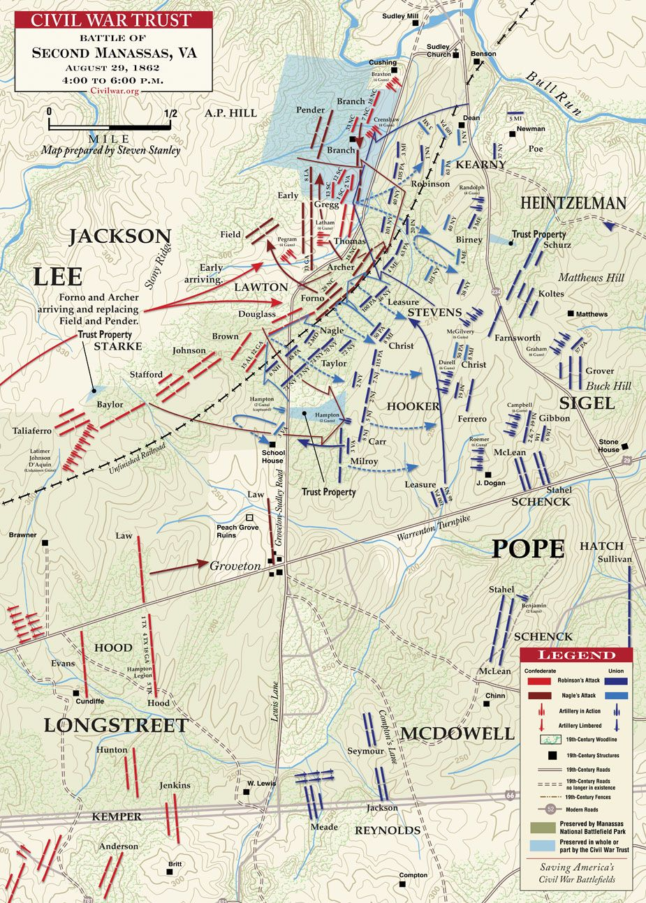 The Civil War Trust S Map Of The August 1862 Action At The Second Battle Of Manassas One Of The Great Civil War Battles In Virginia