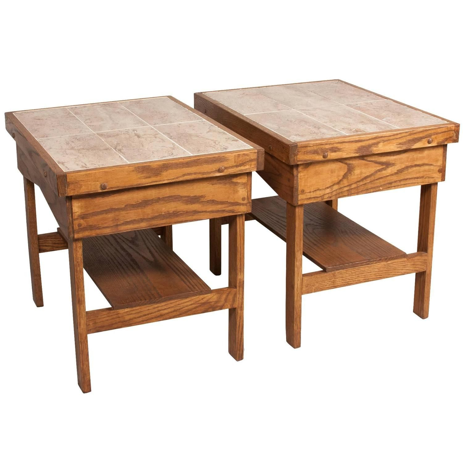 Pair of Ceramic Tile Top End Tables