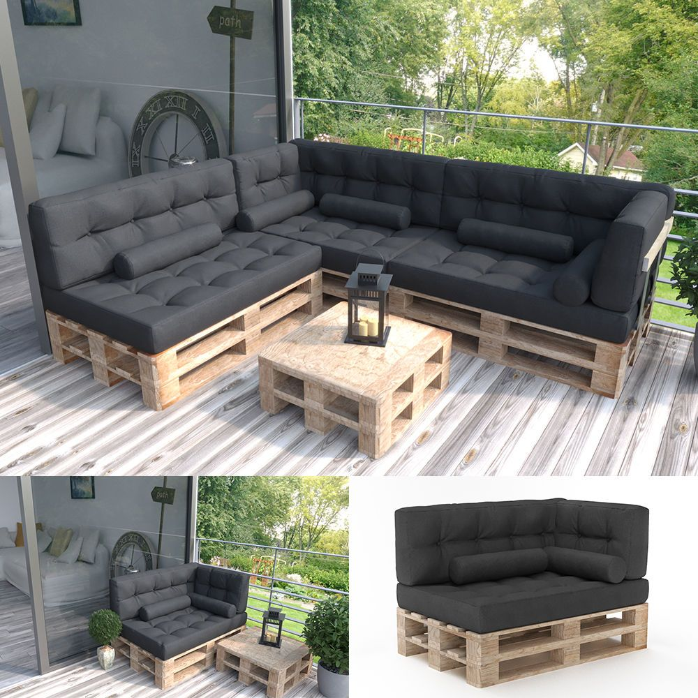 palettenkissen palettensofa palettenpolster kissen polster couch sofa anthrazit garten. Black Bedroom Furniture Sets. Home Design Ideas