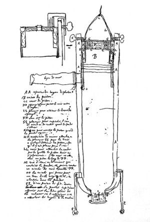 Design of Huygen's powder machine produced mechanical energy in a cylinder by means of combustion. He never successfully built one.