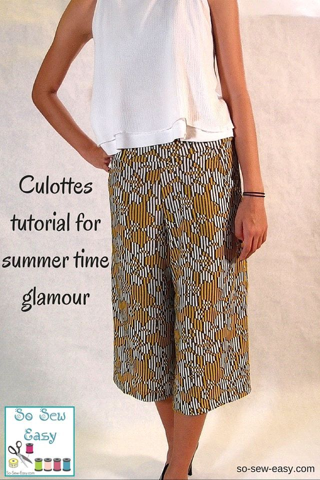 0bfe201d806 Culottes tutorial for summer time glamour Sewing Patterns Free