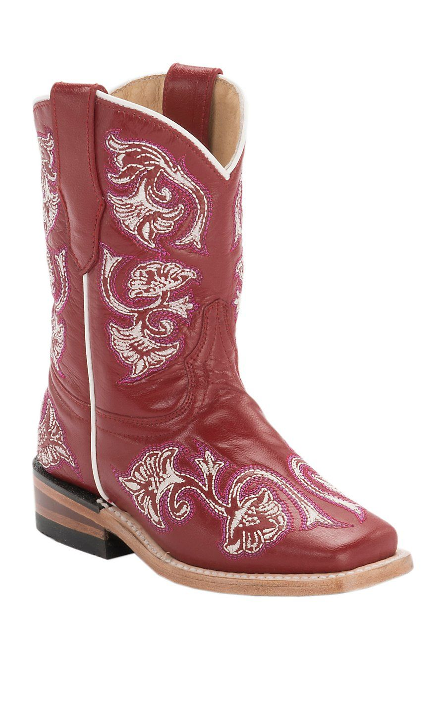 e830a50012a Corral Kid's Red Fancy Stitch Square Toe Western Boots | Corral ...