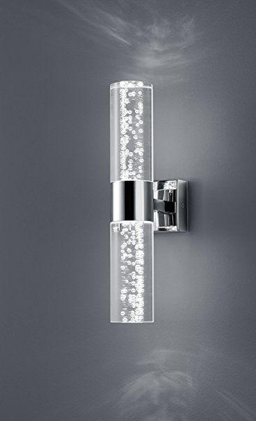 Trio Leuchten LED Bathroom Wall Light Chrome Clear Acrylic with