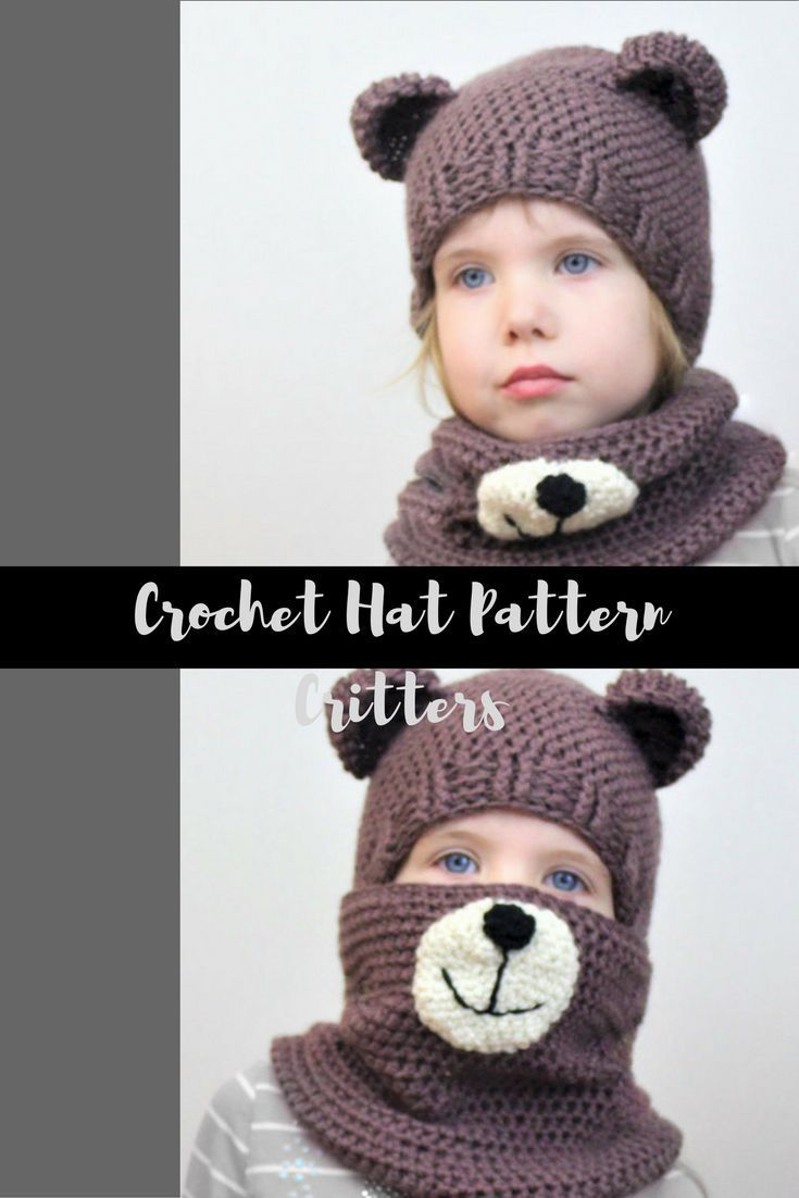 Crochet pattern, Patron crochet, PDF, Blair BEAR Set=hat+cowl ...