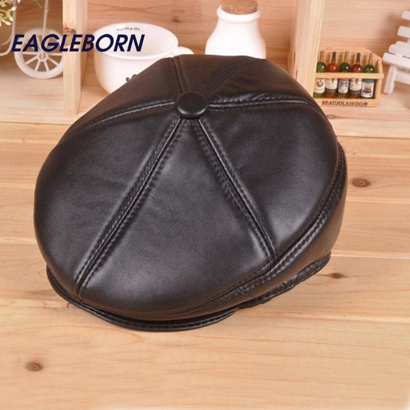 2018 Fashion Leather Beret Men Keep Warm Caps Old Man Winter Hats with – Dirty Rascals