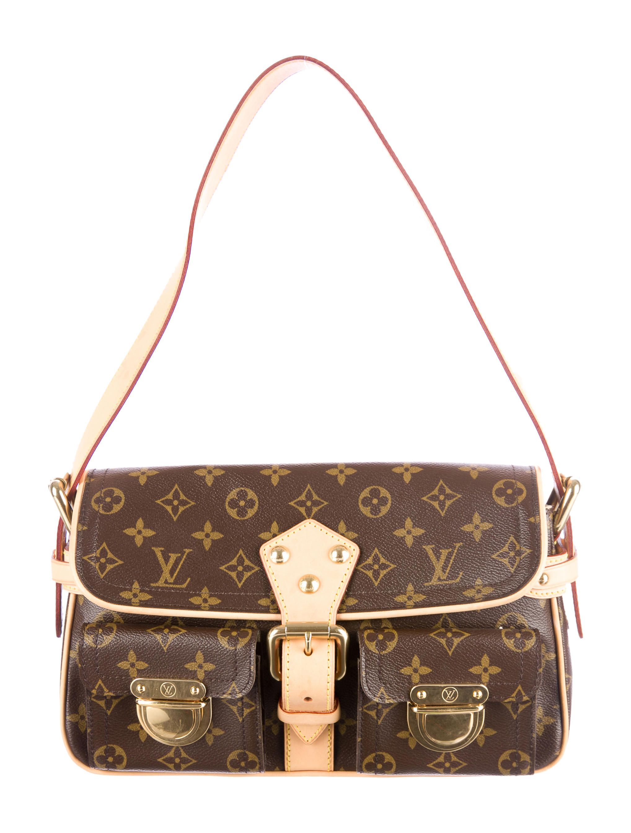 385b267bf Brown and tan monogram coated canvas Louis Vuitton Hudson PM shoulder bag  with vachetta leather trim