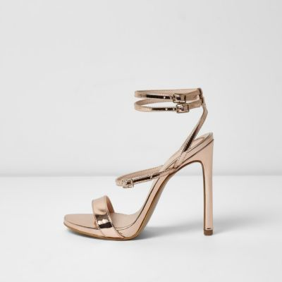 459df0d1a47 River Island Womens Gold wide fit metallic strappy sandals ...