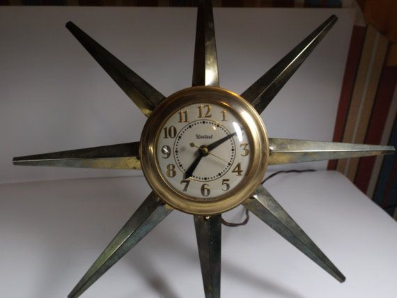 Large Wall Electric Clock United With Rays Made In Usa The Clock Of 50s Sun Clock Home Decor Office Decor 110v Quiet And A Clock Electric Clock Clock Decor