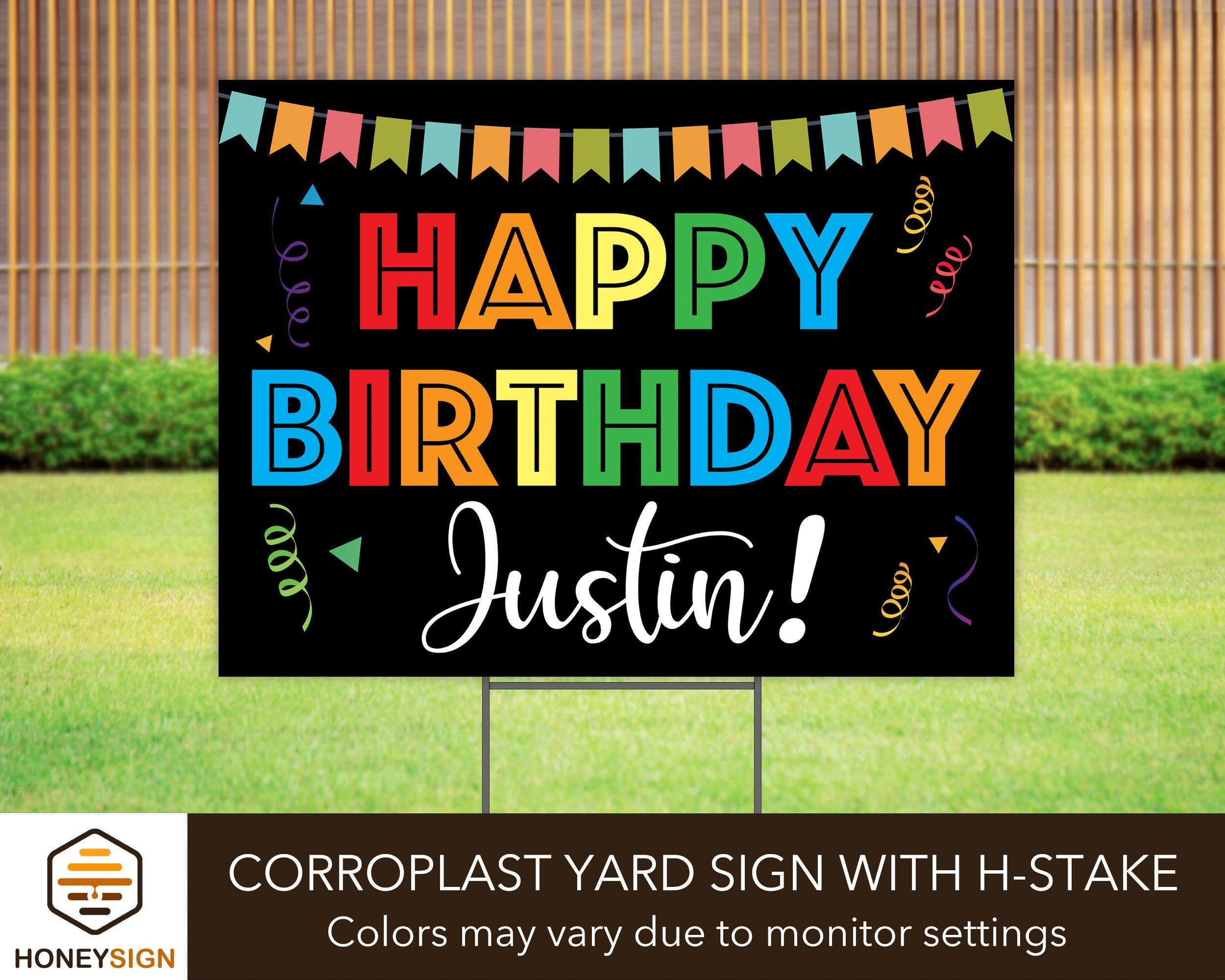 Hy Birthday Yard Sign With H Stake