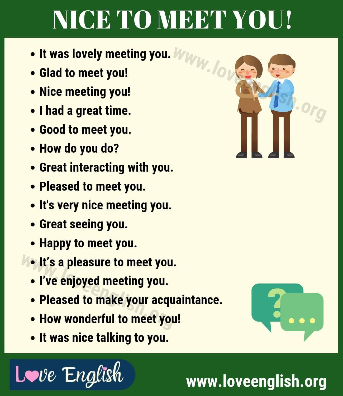 Nice To Meet You 16 Different Ways To Say Nice To Meet You Love English In 2020 Learn English Words How To Speak Spanish Learn English Vocabulary