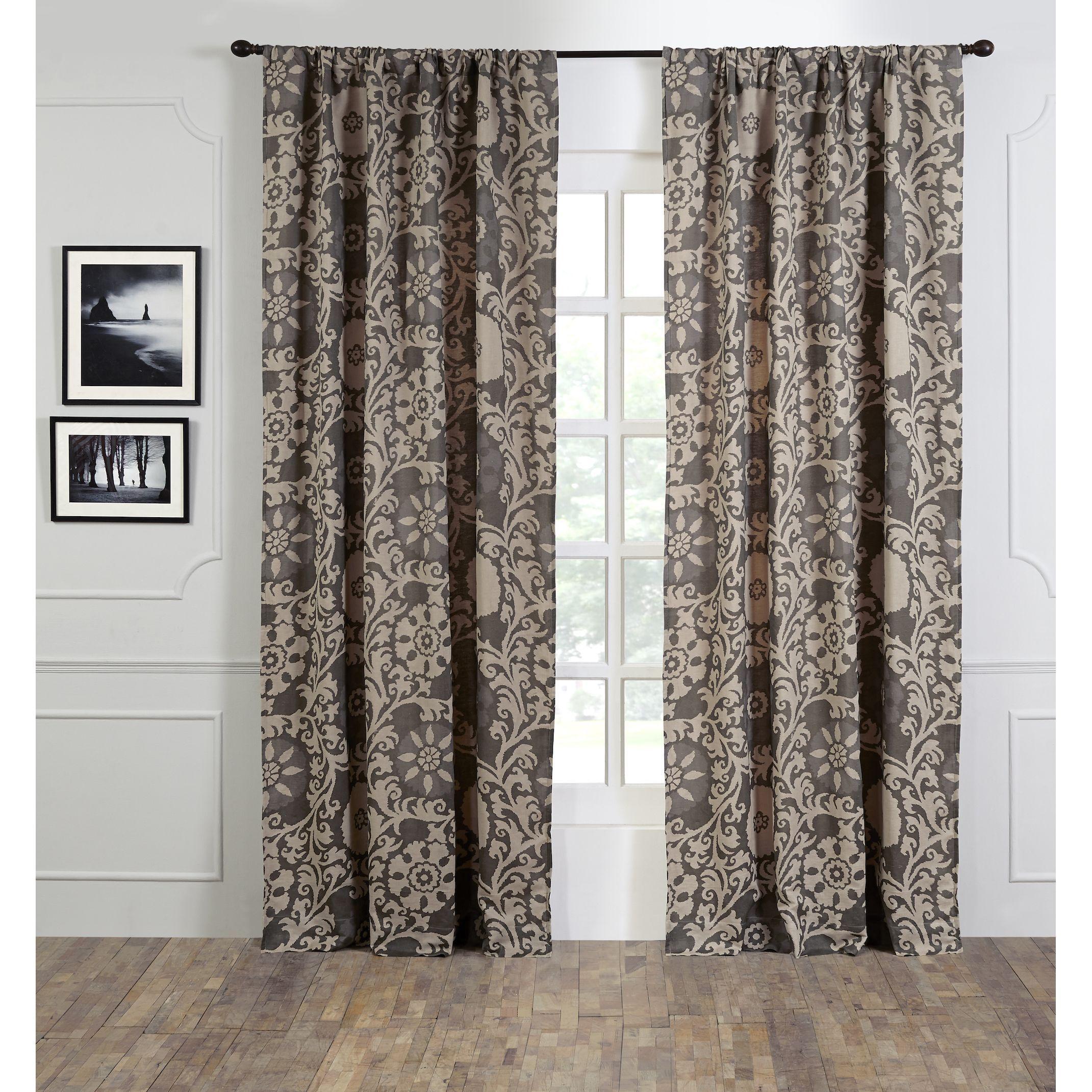 Linen Cotton Suzani 96 Inch Curtain Panel 48 X 96 Linen Cotton