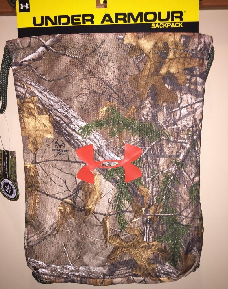 b3a1038bd4 New UNDER ARMOUR Sackpack Drawstring Bag Cinch Sac Camo Brown Green   UnderArmour  Sackpack