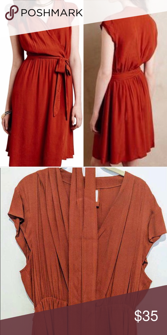df84a4169ea9 Maeve Noronha wrap dress - Anthropologie Size LP Burnt orange Maeve  Anthropologie wrap dress - size large (petite). Worn once and dry cleaned.