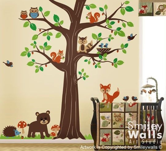 Woodland Forest Animal Friends Huge Tree Nursery Vinyl Wall Decal - Vinyl wall decals animals