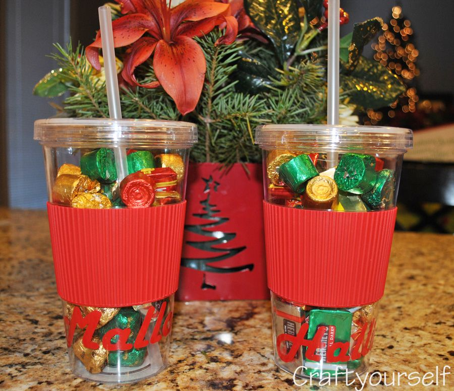 Delightful Christmas Candy Craft Ideas Part - 13: Personalized Candy Filled Tumbler- Inexpensive Gift Idea - Craftyourself.com