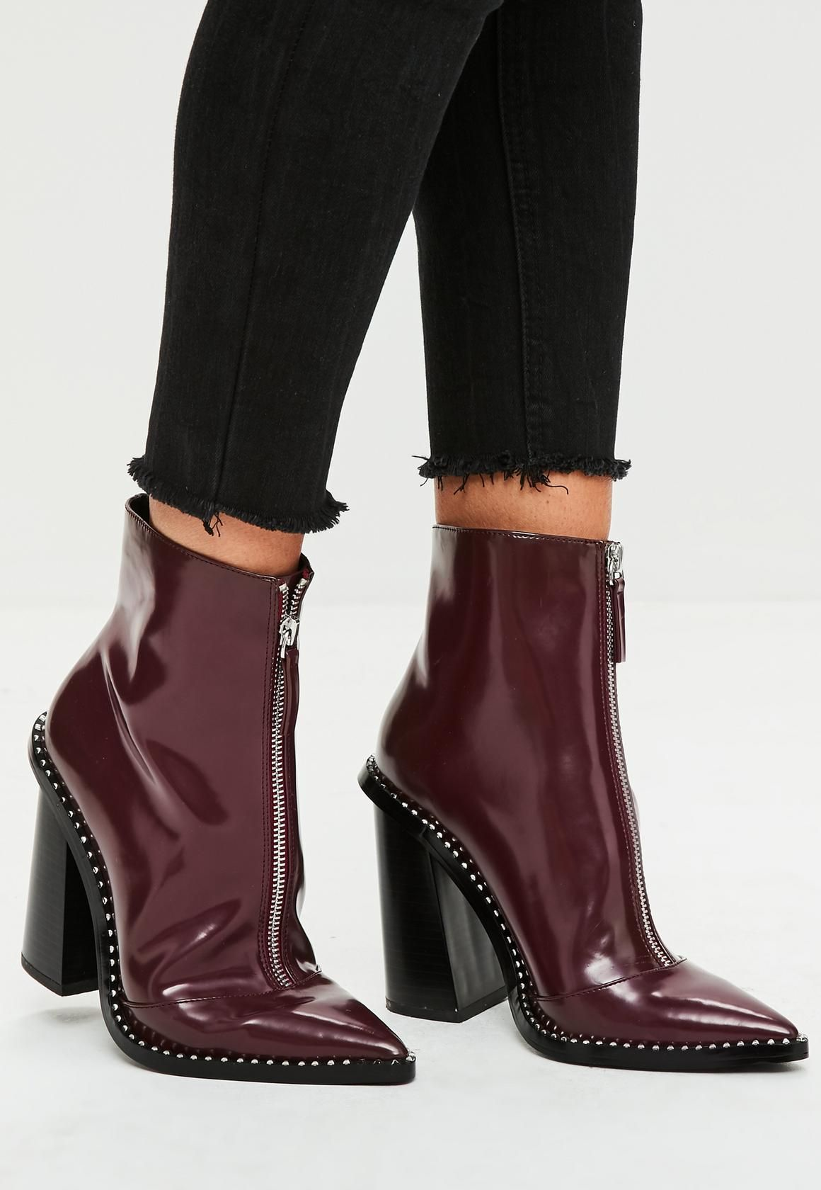 1b19303d046 Missguided - Burgundy Front Zip Pointed Ankle Boots