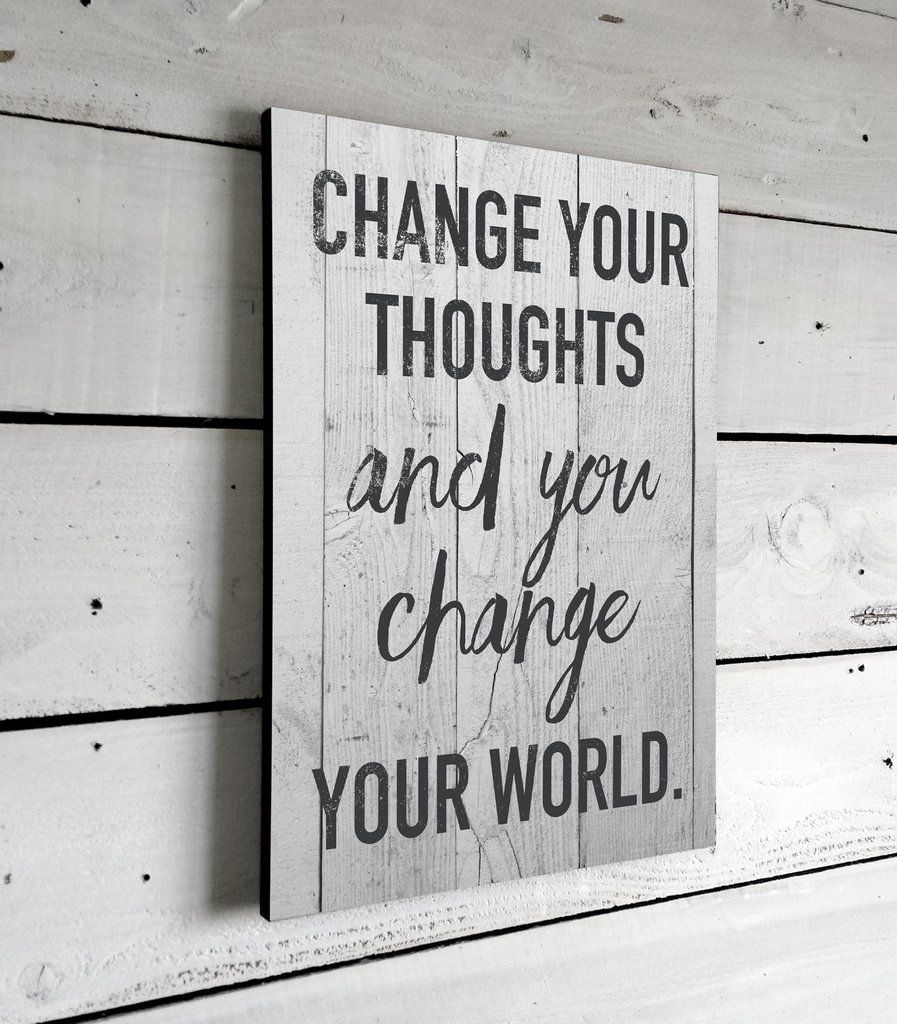 Inspirational Quotes Change Your Thoughts Wall Art Signs With Sayings Printed Sign