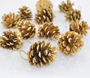 12 pcs lot christmas gift 4 cm golden pine tree ornaments winter