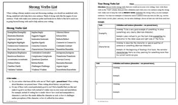Analytical Verbs For Essays List Examples And Activities Literary Analysis Essay Essay Thesis Statement