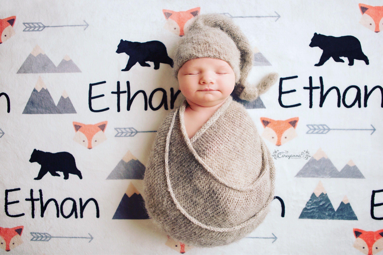 mountain blanket fox blanket deer blanket black bear blanket Personalize baby swaddle SALE baby name blanket baby boy blanket