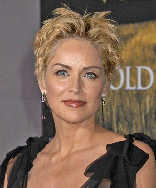 Sharon Stone Short Straight Honey Blonde Hairstyle Sharon