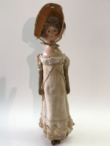 Antique-1820s-Queen-Anne-Type-English-Wood-20-doll-Blu-Glass-Eyes-Original-3