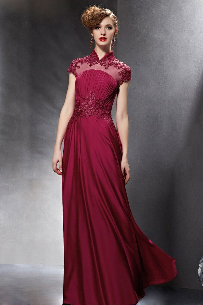 Three quarter sleeve mandarin collar black lace A line ...   Mandarin Collar Cocktail Dress