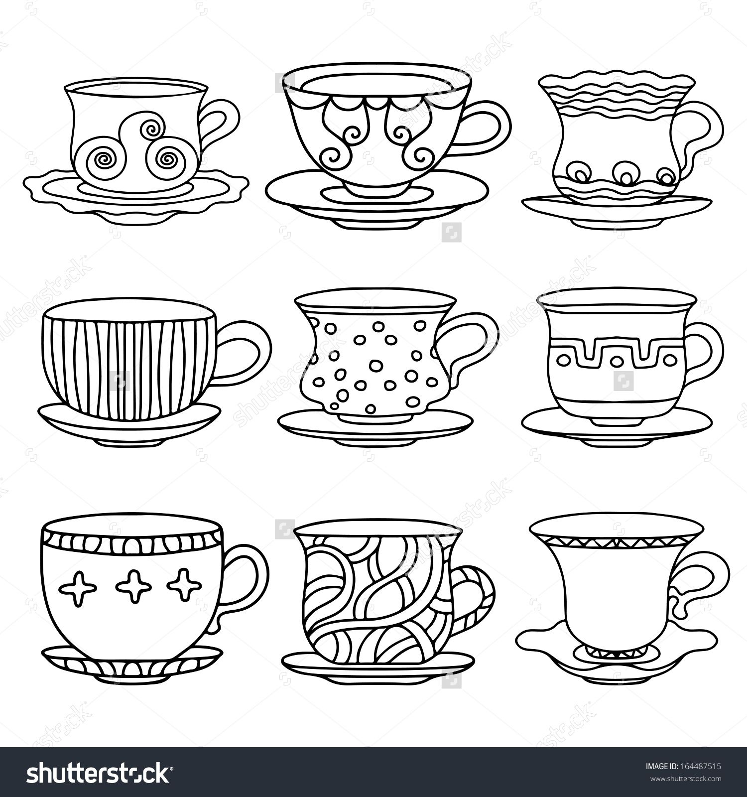 Coffee cup sketch - Stock Vector Tea Cup Coffee Cup Saucers Set