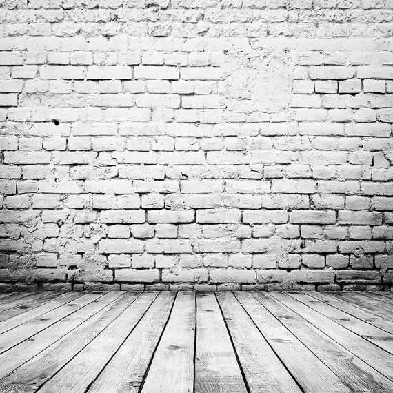 White Brick Backdrop Wall With Wood Floor Interior Printed Fabric Photography Background G1499