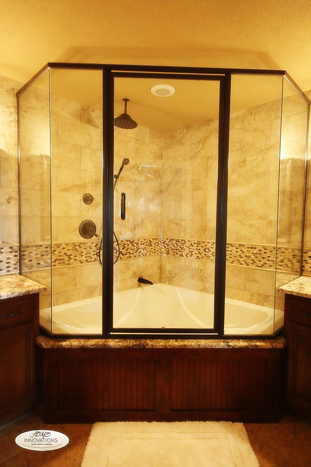 soaking tub shower combo with glass shower enclosure combination ...