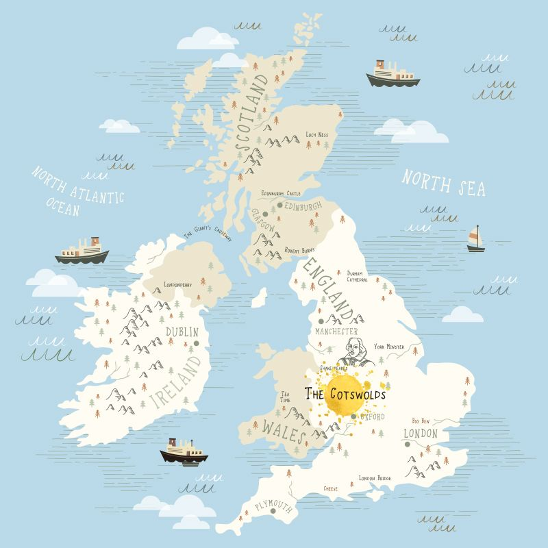 Illustrated Map of the UK showing the Cotswolds London Pinterest
