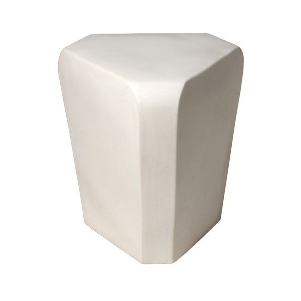 Emissary Triangle Garden Stool In White ($275) Via Polyvore Featuring Home,  Outdoors,