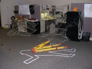 Desk Decorated For Halloween