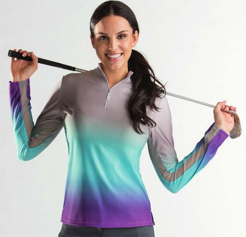This Bette & Court/Swing Ladies & Plus Size Siria Cool Elements L/S UV Golf Shirt covers a full spectrum of benefits. The integrated sun protection with SPF standards, functional athletic lines and a smooth comfortable feel for an active lifestyle! #golfstyle #ootd #lorisgolfshoppe