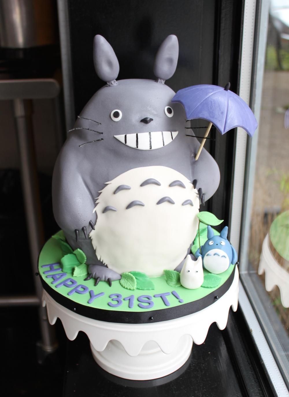Wondrous Sculpted Totoro Birthday Cake Whipped Bakeshop With Images Funny Birthday Cards Online Aeocydamsfinfo